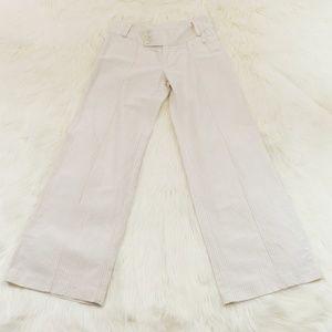 Banana Republic Ivory Pinstripe Linen Blend Pants